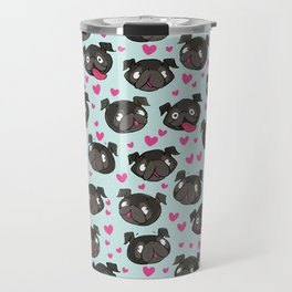 black pugs and hearts cute pug Travel Mug