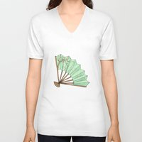 terry fan V-neck T-shirts featuring Fan by Rene Robinson