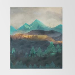 Green Wild Mountainside Throw Blanket