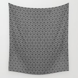 Isometric Weaved Cubes in Black and White Pattern - Graphic Design Wall Tapestry