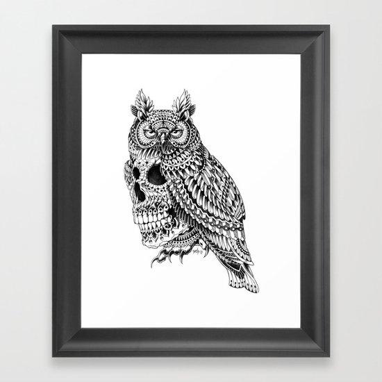Great Horned Skull Framed Art Print