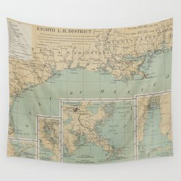Vintage US Gulf of Mexico Lighthouse Map (1898) Wall Tapestry