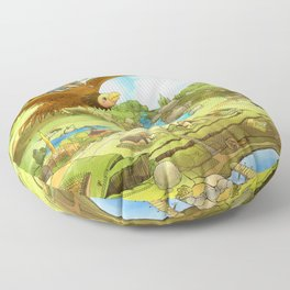 Flying On Polly Over an Enchanted Land Floor Pillow