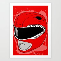 power ranger Art Prints featuring Red Ranger by Michelle Rayner