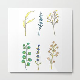 Watercolor and Ink Wildflowers and Eucalyptus Design Metal Print