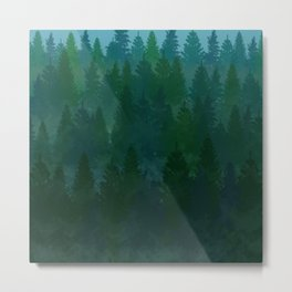 Forest of Misty Trees Metal Print