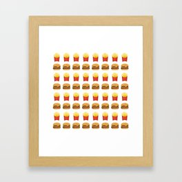 Burgers and Fries Pattern Framed Art Print