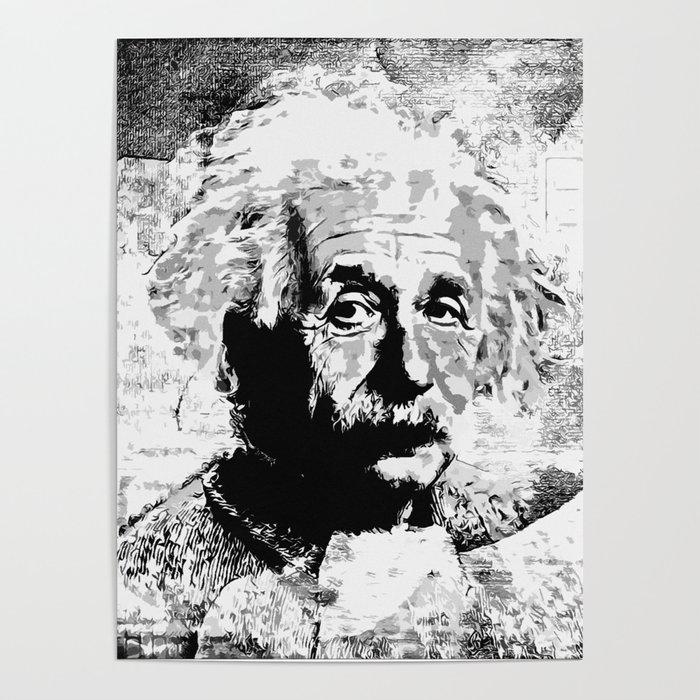 d8eeb138386fe9 Albert Einstein - schwarz-weiß Poster by lessaksart