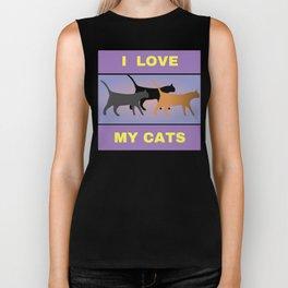 I Love My Cats Biker Tank