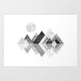 Geometrical mountains in black and white - Scandinavian art Art Print