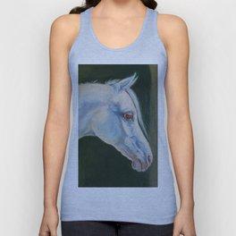 White Arabian Horse portrait Arab horse painting Unisex Tank Top