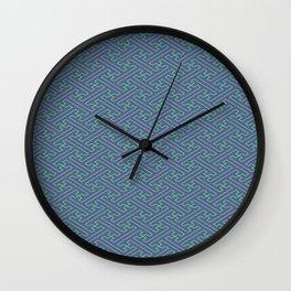 Purple Lime Sayagata Pattern - Auspicious Sacred Geometry Wall Clock