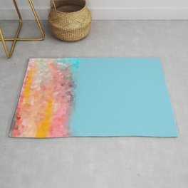 Pink, blue, orange mosaic stained glass background Rug