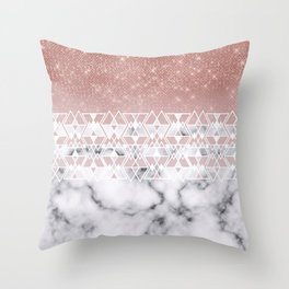 Modern Rose Gold White Marble Geometric Ombre Throw Pillow