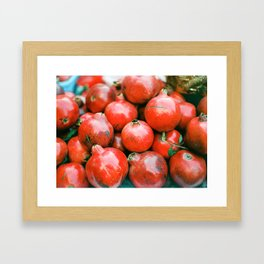 Red pomegranates on a fruit cart in Marrakech Morocco | Colorful travel food photography Framed Art Print