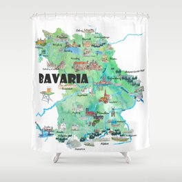 Bavaria Germany Illustrated Travel Poster Map Shower Curtain