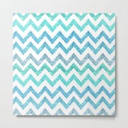 Summer Waves | Faux blue turquoise glitter chevron pattenr Metal Print