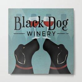 Black Dog Labrador Wine Metal Print