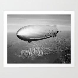 Airship Flying Over New York City Art Print