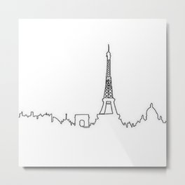 Paris, France Outline (Eiffel Tower, Notre Dame) Metal Print