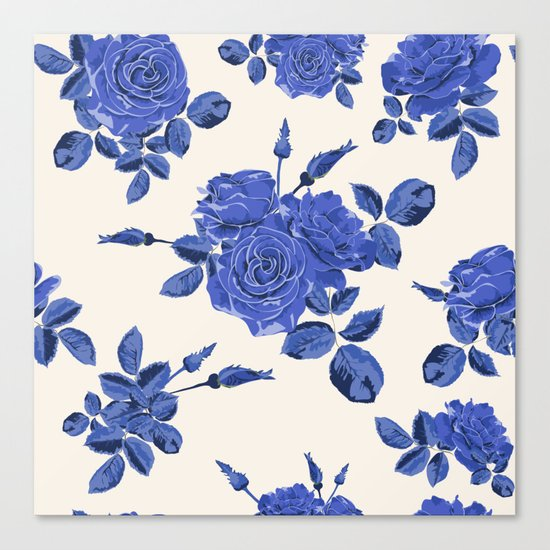 Seamless blue roses pattern Canvas Print