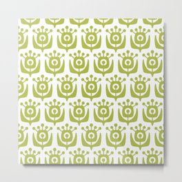 Retro Flower Pattern Chartreuse 3 Metal Print