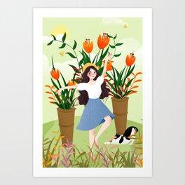 Beautiful Flower Lady Paint Art Print