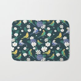 Budgies and Cosmos Flowers on Dark Green Bath Mat