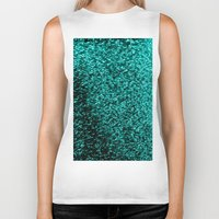 glitter Biker Tanks featuring Teal Glitter by SimplyChic