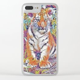 Tiger Cub Pop Art | Oil Painting Clear iPhone Case