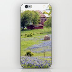 Old Red Barn and Rolling Bluebonnet Hills iPhone Skin