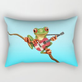 Tree Frog Playing Acoustic Guitar with Flag of Denmark Rectangular Pillow