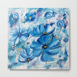 Abstract Blue Poppies Metal Print