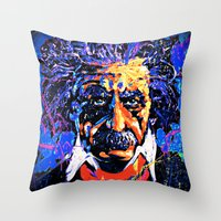 einstein Throw Pillows featuring Einstein by FEENNX