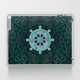 Dharma Wheel - Dharmachakra Silver and turquoise Laptop & iPad Skin