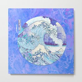 Great Wave off Kanagawa Eruption Metal Print