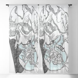 heart skull Sheer Curtain