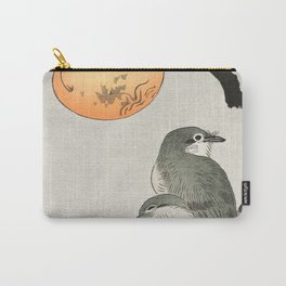 Birds sitting on kaki tree - Japanese vintage woodblock print Carry-All Pouch