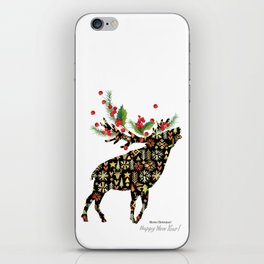 Christmas reindeer iPhone Skin