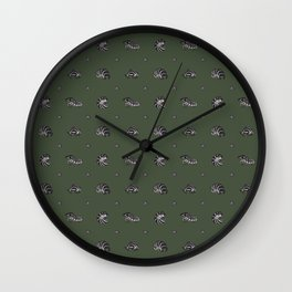 Roly Poly Party! Zebra on Green Wall Clock