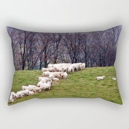 Cattle Eating Hay on a Hill Rectangular Pillow