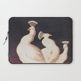 White Peacocks Vintage Animal Illustration Laptop Sleeve