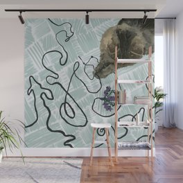 Playful Cat with String Illustration Wall Mural