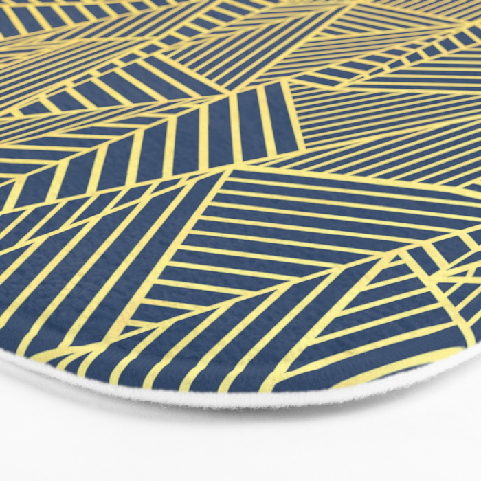 Ab Lines Gold and Navy Bath Mat