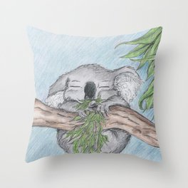 Sleep eating Koala style Throw Pillow