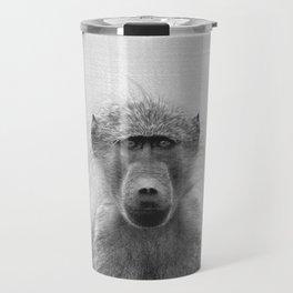 Baboon - Black & White Travel Mug
