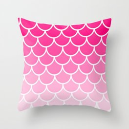Ombre Fish Scale In Strawberry Throw Pillow