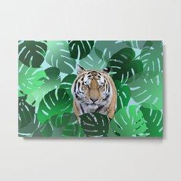 Monstera leaves tiger jungle #society6 Metal Print