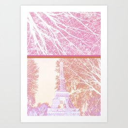 The French Eiffel tower in pink! Art Print