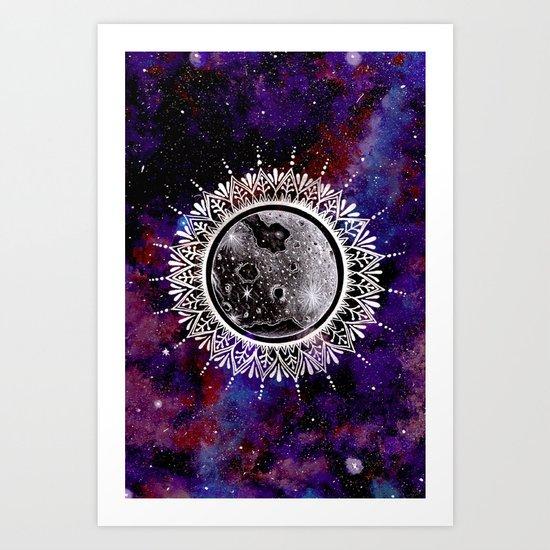 Galaxy Moon Mandala Art Print